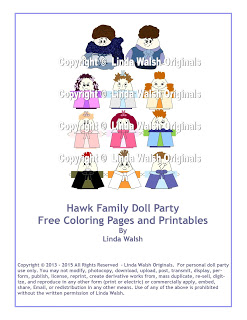 Hawk Family Doll or Birthday Party Free Coloring Pages <br> E-Book