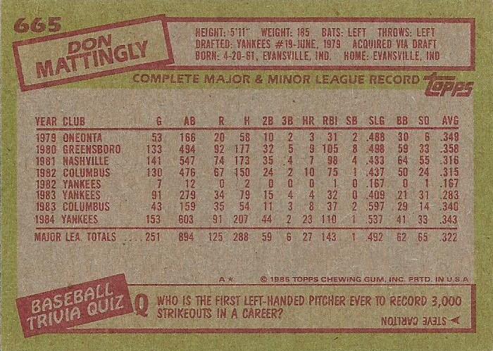 1985 Topps 665 Don Mattingly