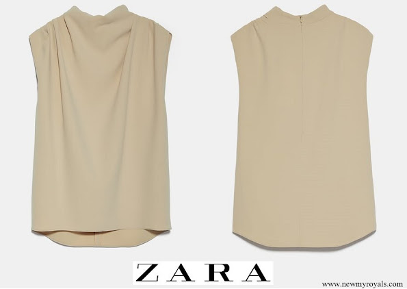 Queen Maxima wore Zara Sleeveless high neck shirt