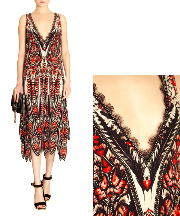 graphic print dress, graphic print fashion, prints, print dress, roberto cavalli prints, roberto cavalli, geometric prints, lace neckline, fashion prints, fashion dresses