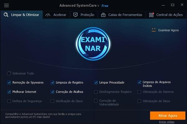 Programa para otimização do computador Advanced SystemCare