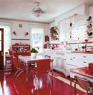 Medium image of the 1950s kitchen is marked by the usage of bold colors usage of contrast lightweight material and multi functional design  changes in home and kitchen