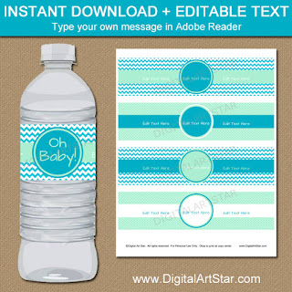 printable turquoise and mint baby shower water bottle labels