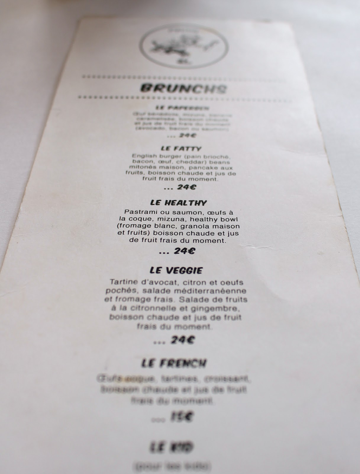 Paperboy | Paris brunch menu