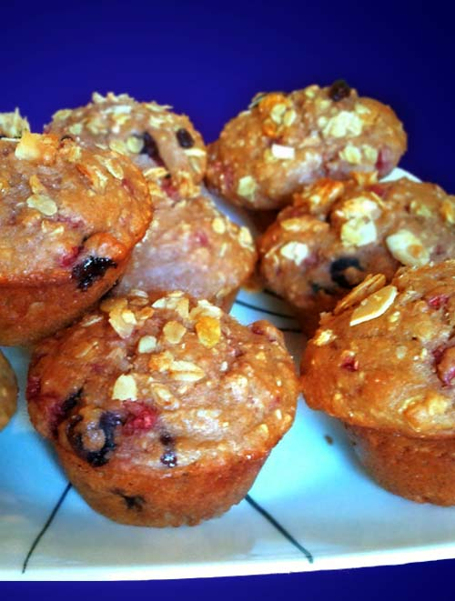 Healthy Blueberry / Raspberry Homemade Muffins for Breakfast, Snacks, Dessert from Oat Bran, Wheat Germ, and more.