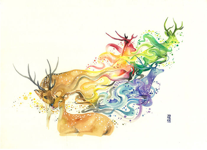 14-Lay-me-by-Your-Side-Luqman Reza jongkie-Painting-Fantasy-worlds-with-Flowing-Watercolor-Animals-www-designstack-co