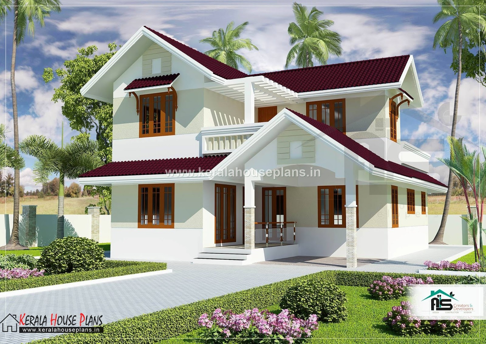 kerala model house plans with elevation 1829 sqft kerala house plans designs floor plans and. Black Bedroom Furniture Sets. Home Design Ideas