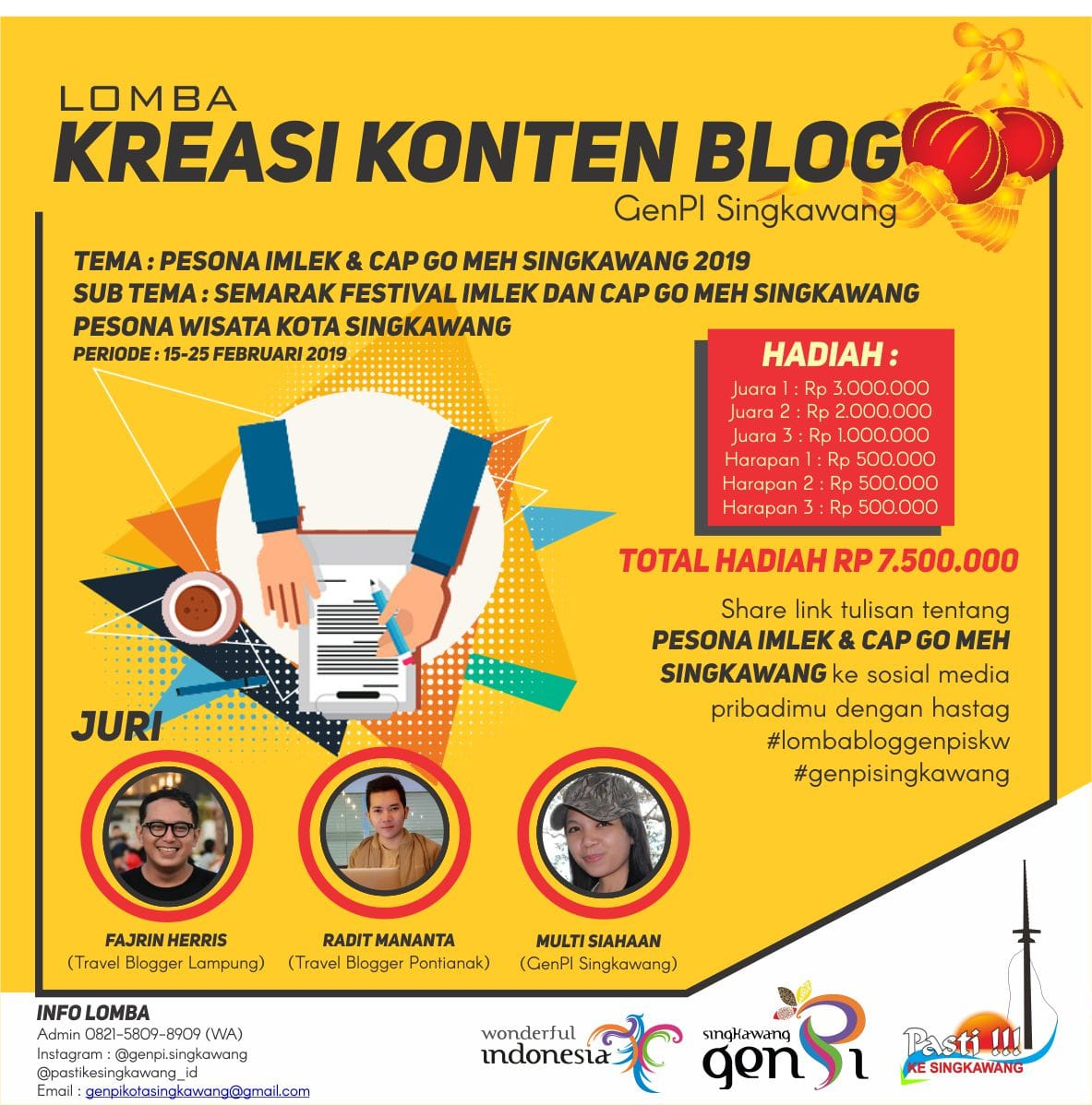 """Lomba Menulis Blog """"Generasi Pesona Indonesia Kota Singkawang 2019"""""""