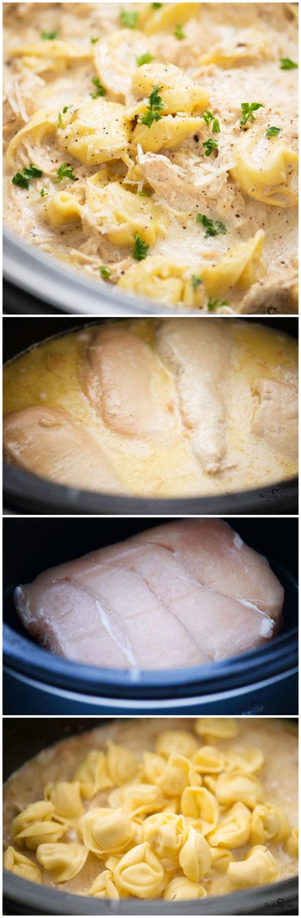 Slow Cooker Chicken Alfredo Tortellini
