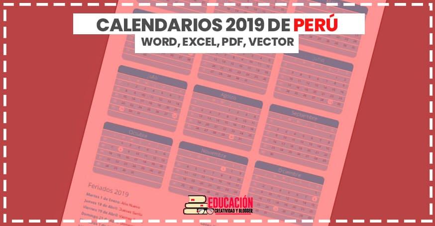 Descargar Calendarios 2019 de Perú en word, excel, pdf y vector