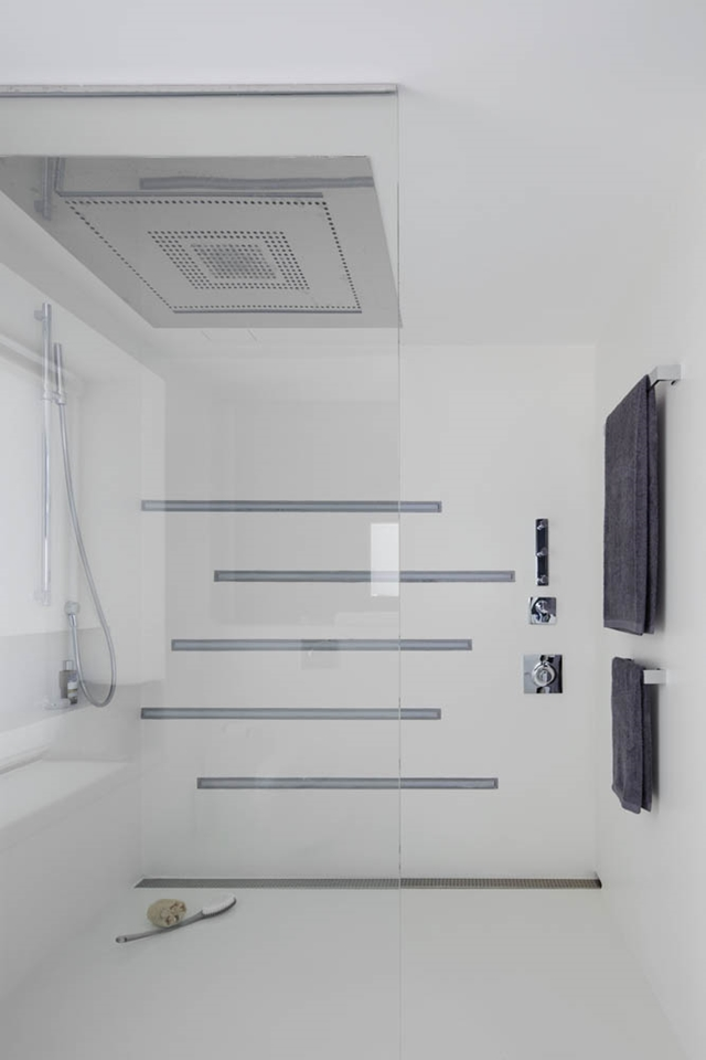 Modern white shower cabin