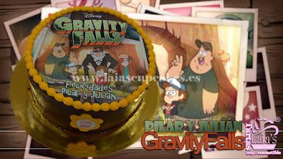 Tarta impresión comestible desnuda gravity falls Laia's Cupcakes Puerto Sagunto