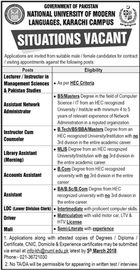 Jobs In National University Of Modern Languages NUML Feb 2018