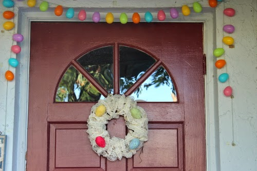 Easter wreath on front door