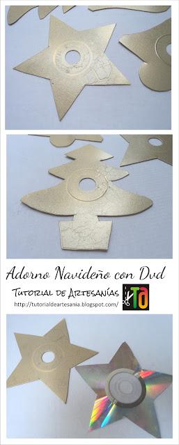 Adornos navideños con Dvd. Tutorial de Artesania