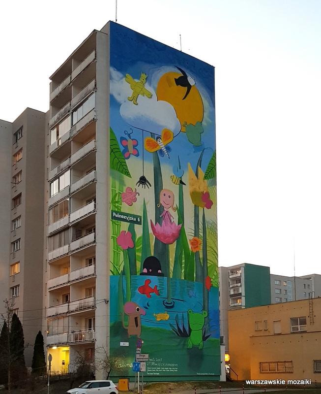 Polinezyjska Warszawa Warsaw budżet partycypacyjny murale ursynowskie streetart muralart  warszawskie murale graffiti  calineczka