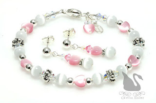 Love's Blush Pink and White Handmade Beaded Jewelry by Crystal Allure Creations