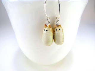 ceramic jewelry cat earrings