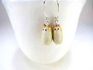 ceramic jewelry cat earrings