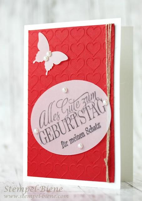 Geburtstagskarte stampinup; Männerkarte; stampinup prägeform herzen; Herzprägeform; stampinup leinenfaden; Stampinup neuer Katalog