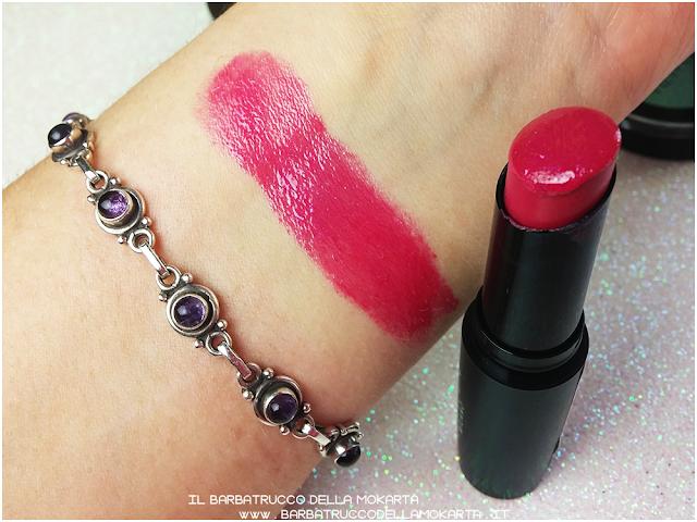 dahlia lipstick gloss mesauda n 406 recensione  fuchsia swatches