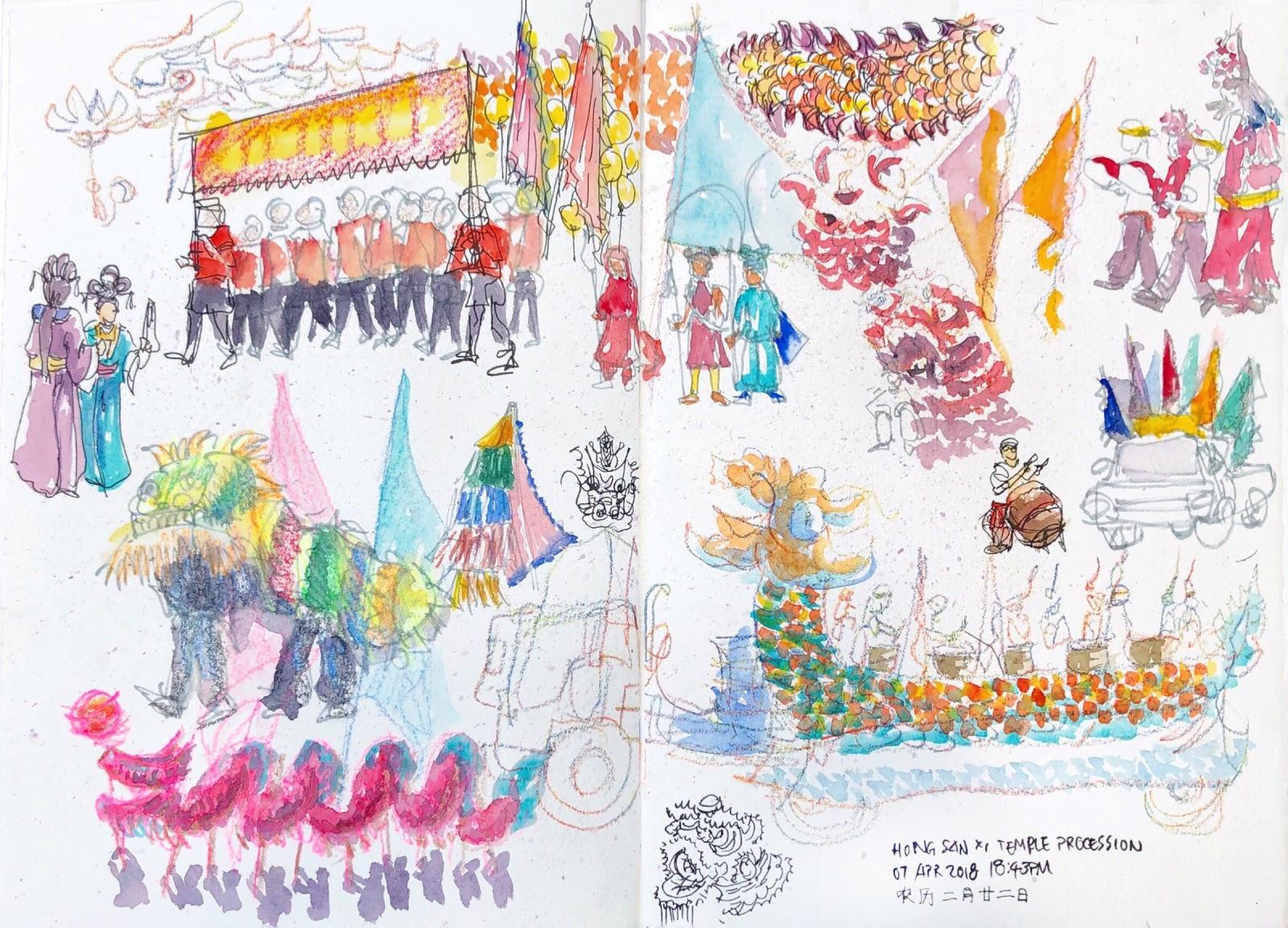 Kueh Seng Onn Temple Procession | Urban Sketchers