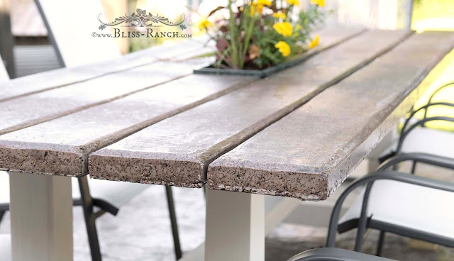Cement Planked Top Farmhouse Patio Table Bliss Ranch