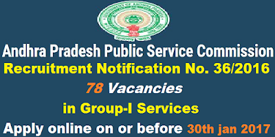 APPSC Group-I Services Recruitment Notification 36/2016