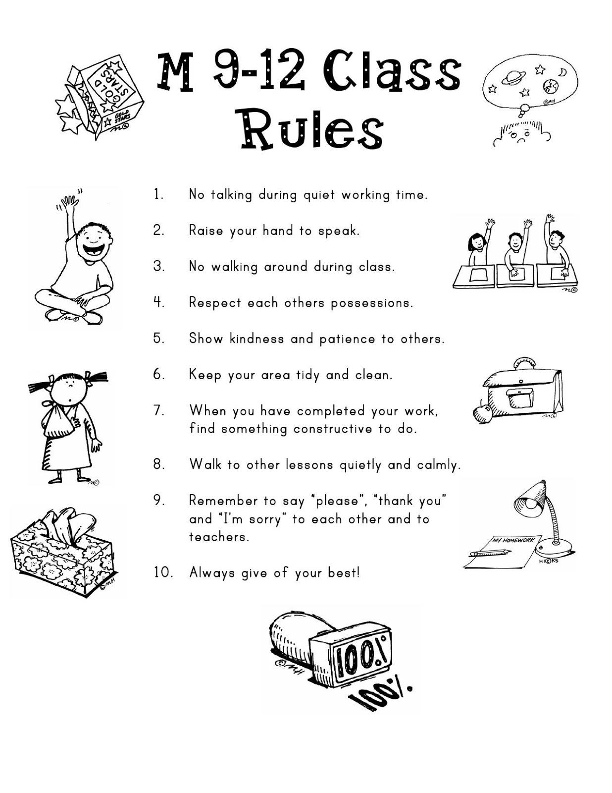Preschool Clroom Rules Coloring