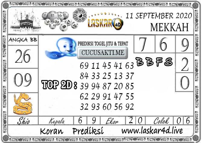 Prediksi Togel MEKKAH LASKAR4D 11 SEPTEMBER 2020