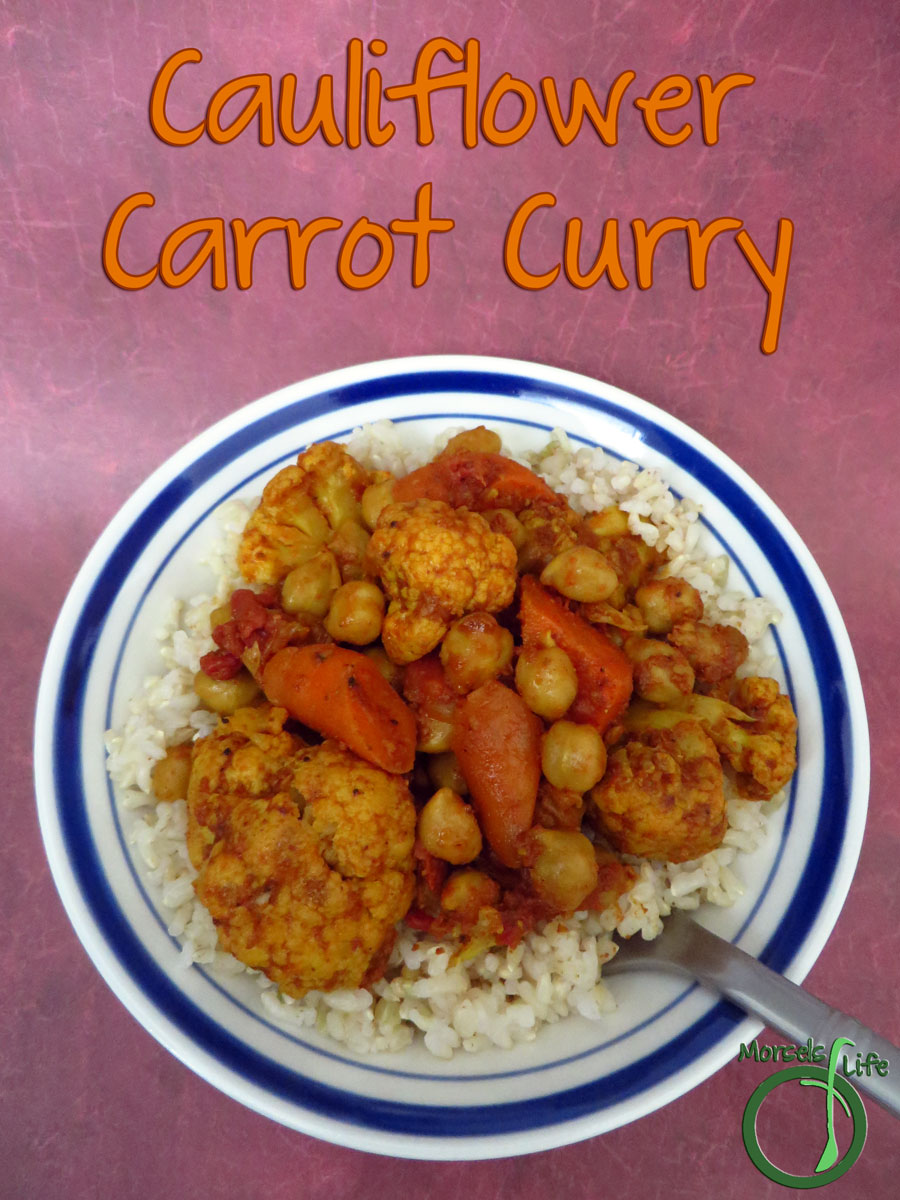Morsels of Life - Cauliflower Carrot Curry - Cauliflower, cooked up with carrots, tomatoes, and chickpeas in a thick curry sauce containing garlic, ginger, and onion for one flavorful cauliflower carrot curry.
