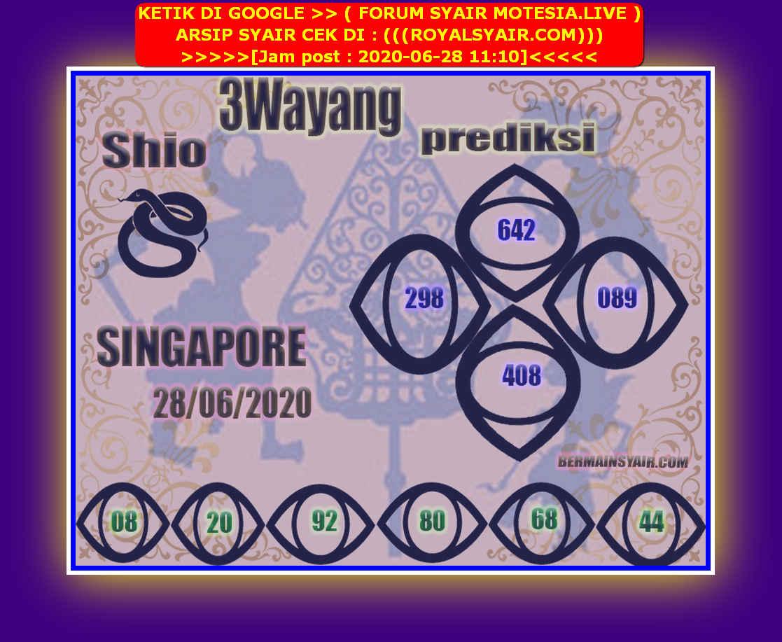 Kode syair Singapore Minggu 28 Juni 2020 75