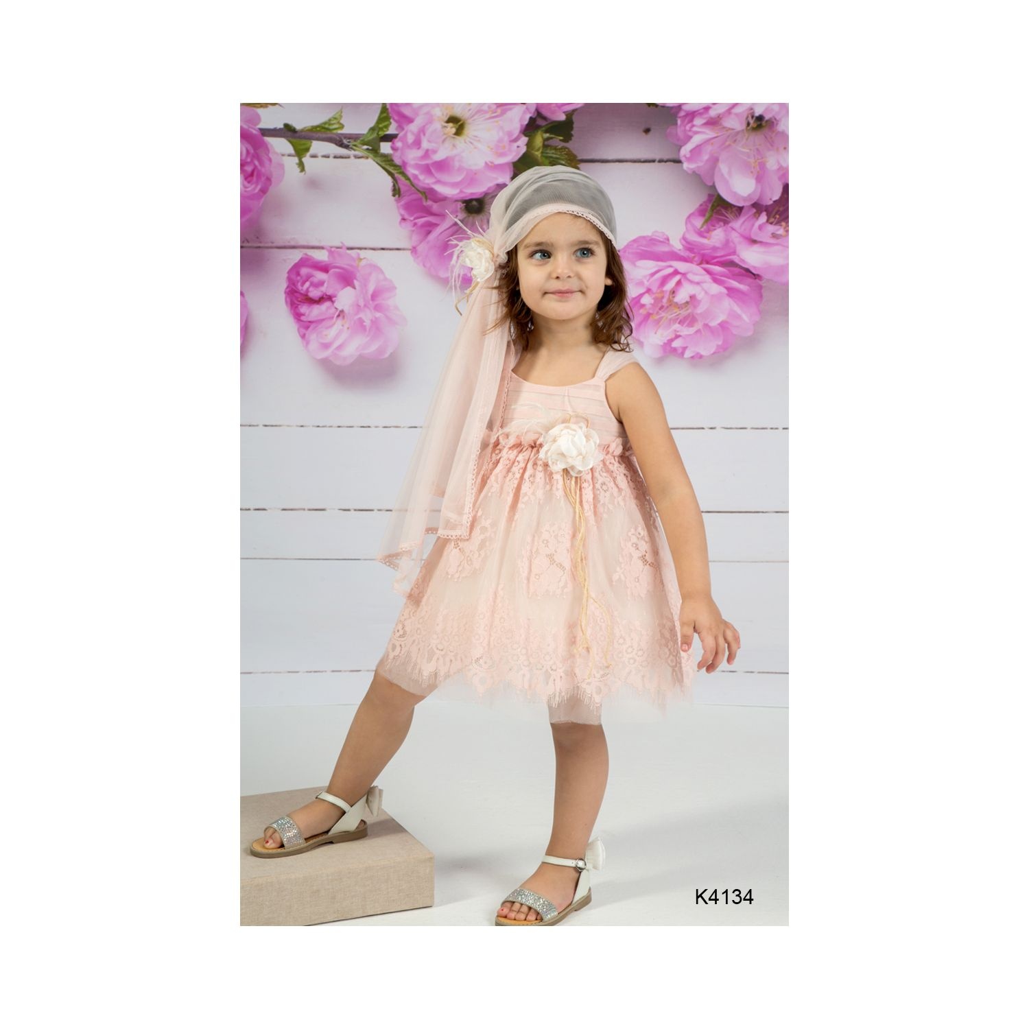 Salmon color baptism gown K4134
