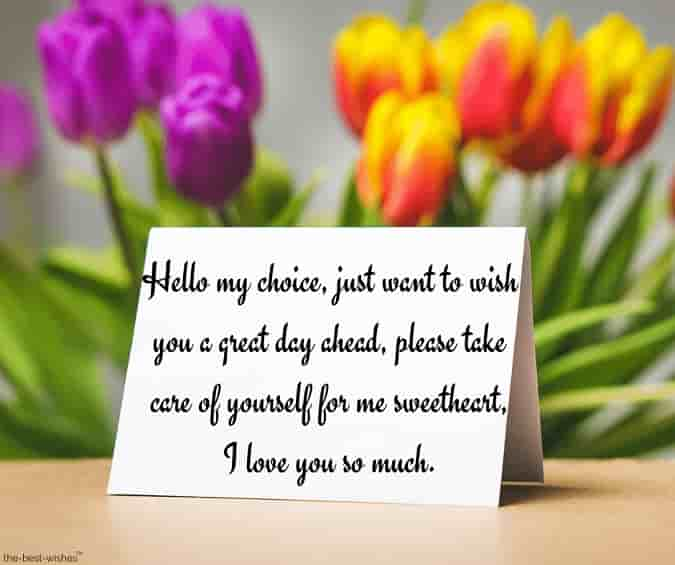 good morning love letter card with flowers