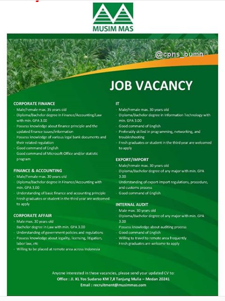 Lowongan Kerja PT. Musim Mas Minimal D3 S1 Deadline 12 April 2019