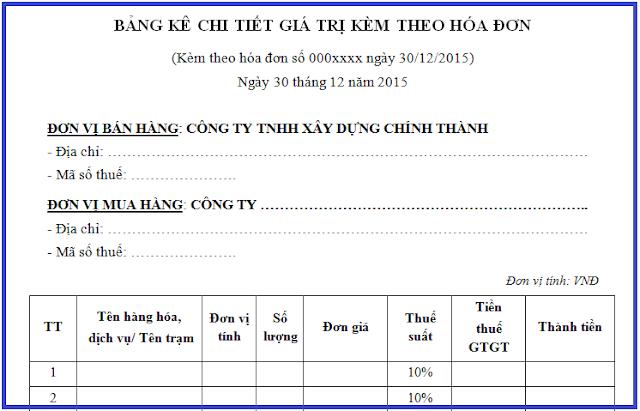 Bảng kê chi tiết kèm theo hóa đơn bán hàng