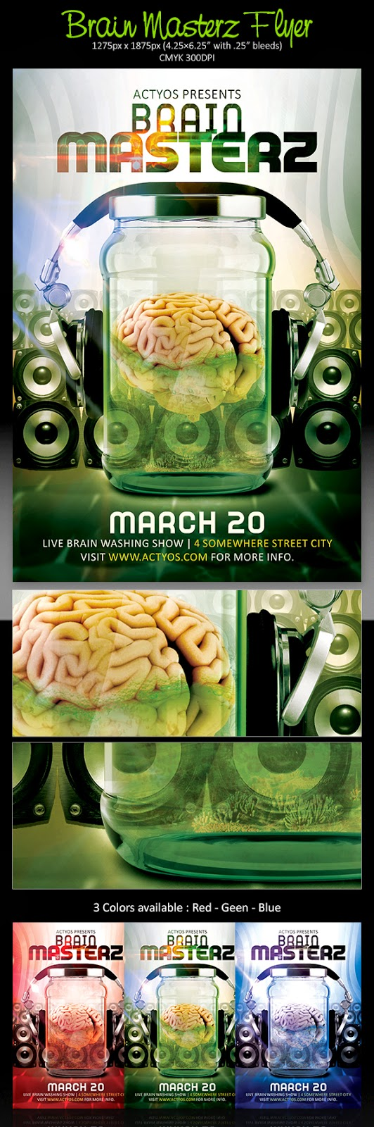 Free PSD Brain Masterz Flyer Template