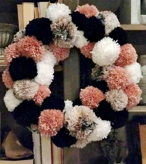 blush, white, black, tweed pom pom wreath