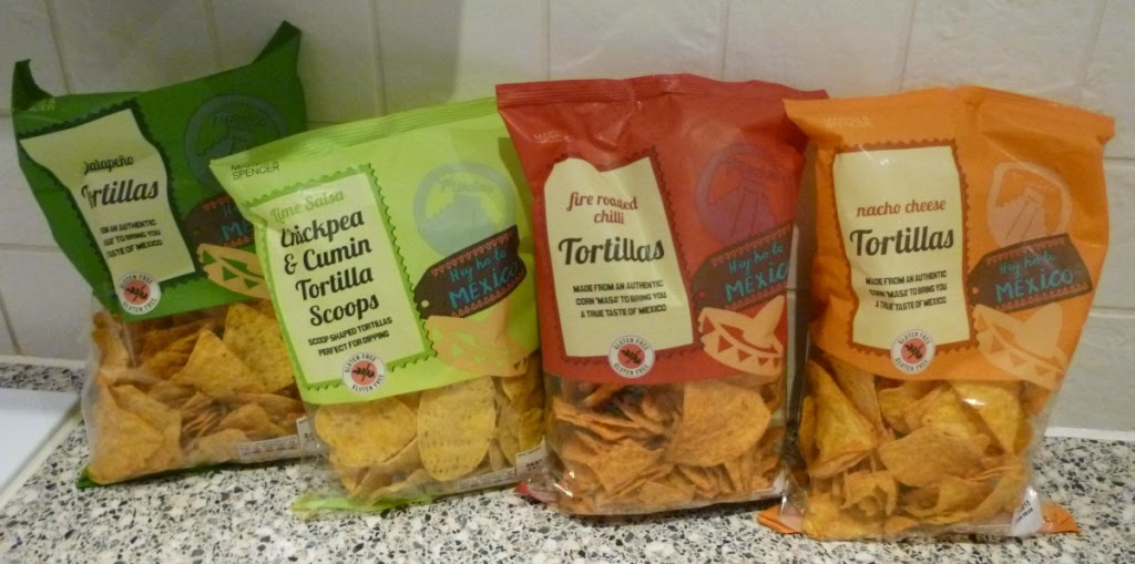 Gluten Free Jalapeno, Fire Roasted Chilli and Nacho Cheese flavour Tortillas, as well as the Lime Salsa Chickpea & Cumin Tortilla Scoops available at Marks & Spencer