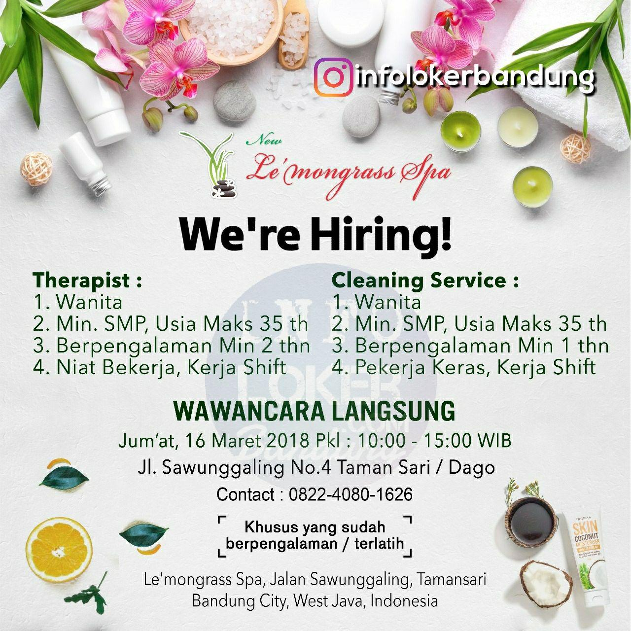 Lowngan Kerja Le'Mongrass Spa Bandung Maret 2018