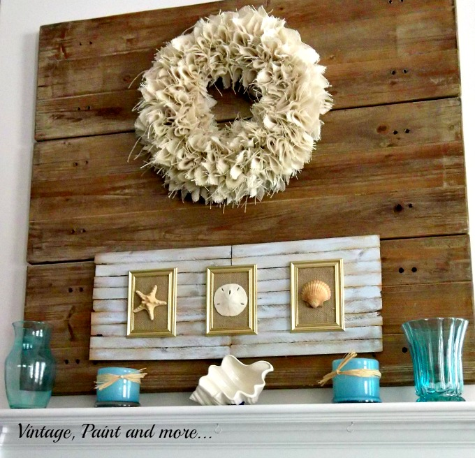Vintage, Paint and more... burlap wreath, seashells and wood art, mod podge vases
