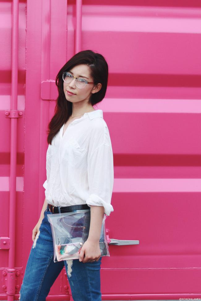 ファッションブロガー日本人、今日のコーディネート、ノームコアスタイル、ジーユー白シャツ、ザラ ダメージジーンズ、ビルケンシュトック コンフォートサンダル、Newdressクリアクラッチバッグ、I like paper コインケース,TIJNクリアだて眼鏡