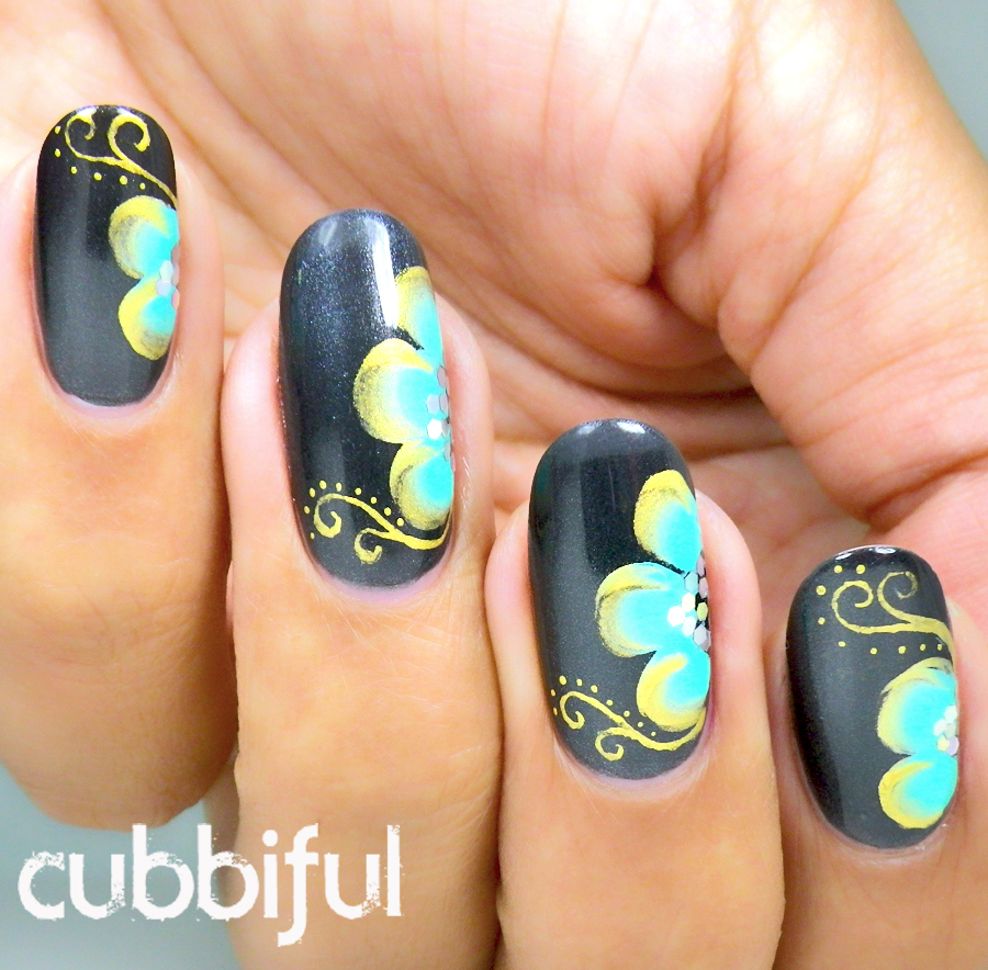 gold and turquoise one stroke flowers with gold arabesque