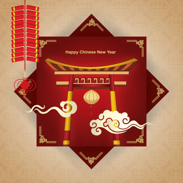 Chinese new year background design Free Vector