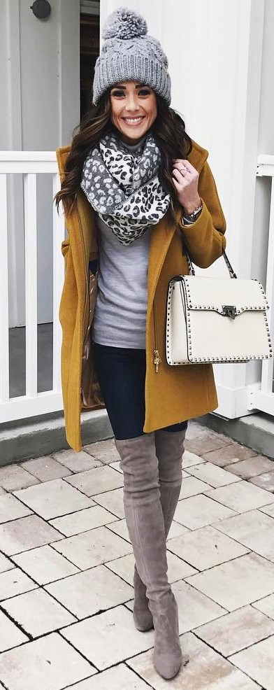 how to style a printed scarf : knit hat + coat + top + bag + skinnies + over knee boots