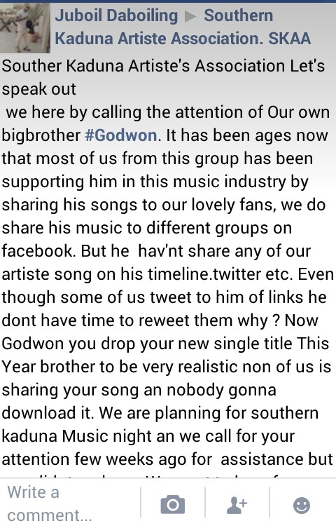"""After a Couple of Cheap """"Drugs"""" Rapper @Godwon Goes Haywire on Facebook"""