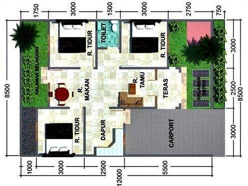 Denah Rumah Minimalis Type 45 Dengan 3 Kamar Tidur