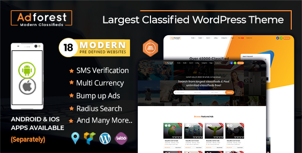 AdForest is one of the leading and the latest Premium Classified Ads WordPress theme. Adforest provides an outstanding front-end UI. Get ad posting WordPress theme with different color options and with awesome functionality.