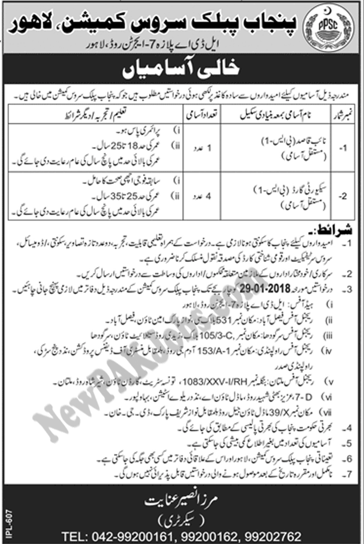 New Jobs announced in PPSC Punjab Public Service Commission for Security Guards, Naibqasid 2018