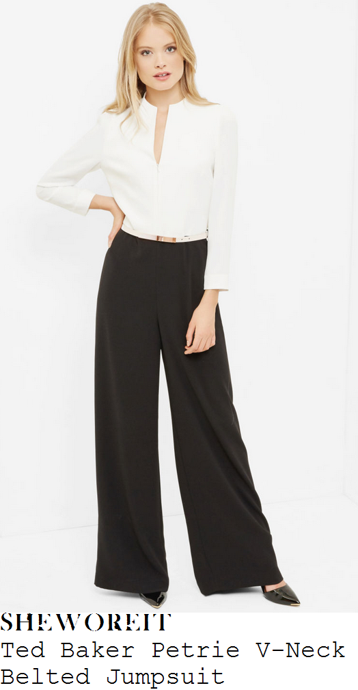 rebecca-adlington-ted-baker-petrie-white-and-black-monochrome-long-sleeve-v-neck-metallic-belt-detail-high-waisted-tailored-wide-leg-jumpsuit